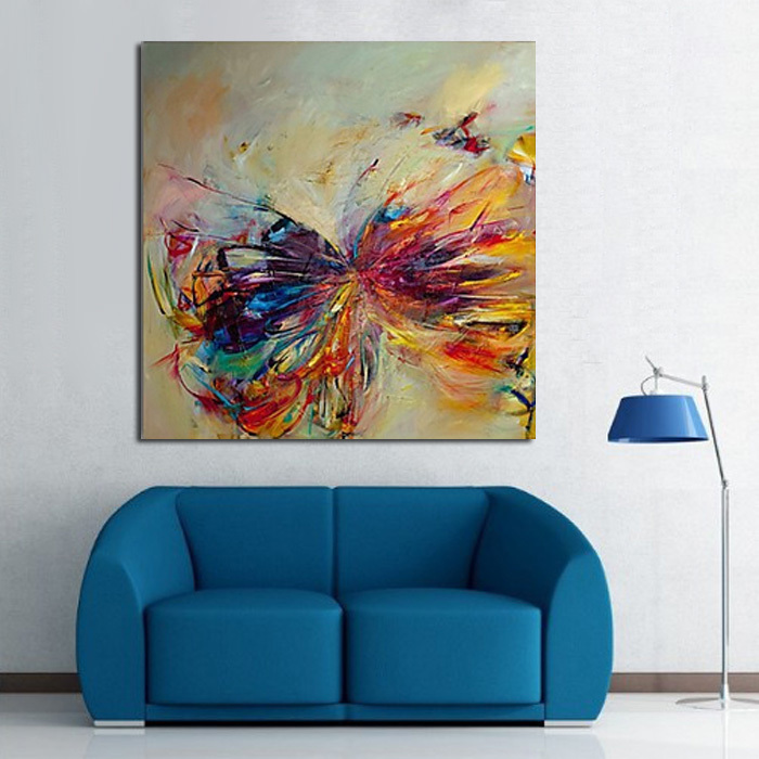 Handmade Modern Abstract Decorative Butterfly Picture Oil