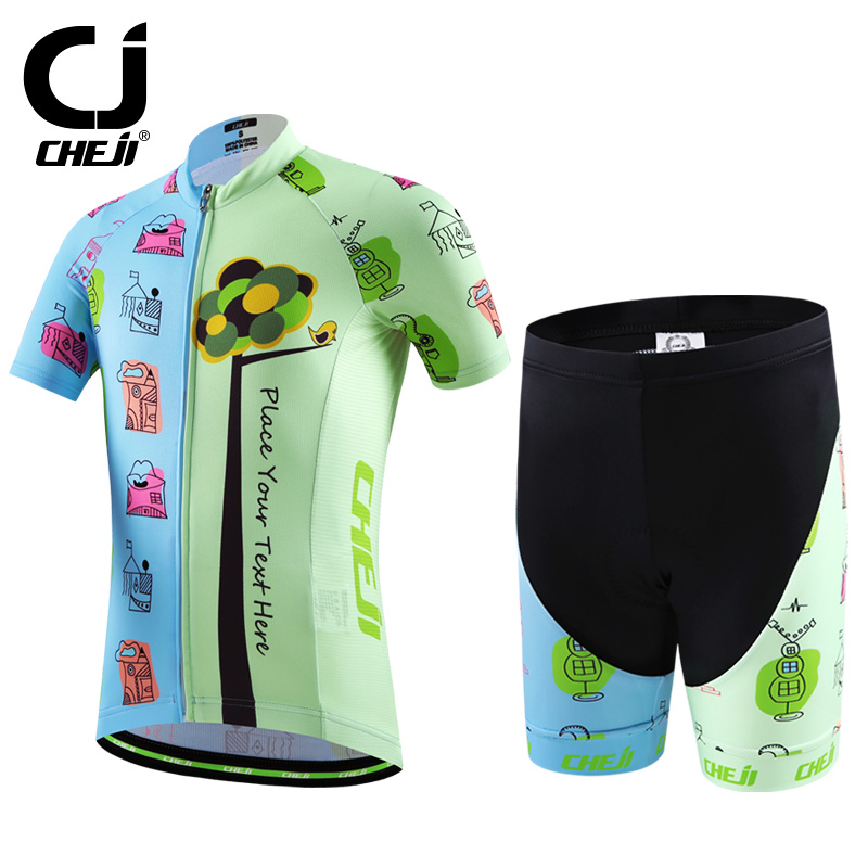 Cheji Children Bike Jersey Sets Summer Kids Cycling Clothing Breathable Pro Bicycle Clothes Boys Cycling Sets