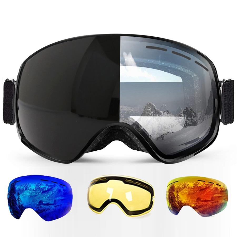 Gafas de esquí fotosensibles claro gafas de esquí Airsoft protección UV Snowboard para todo el tiempo de las mujeres de los hombres grande esférico máscara de ciencia ficción