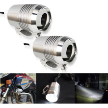 2pcs Chrome LED Motorcycle Headlight Spot Head Light Motorbike Fog Lamp Bulb ATV SUV Car U2 1200LM 30W Motor Bike Light 12V DC(China)