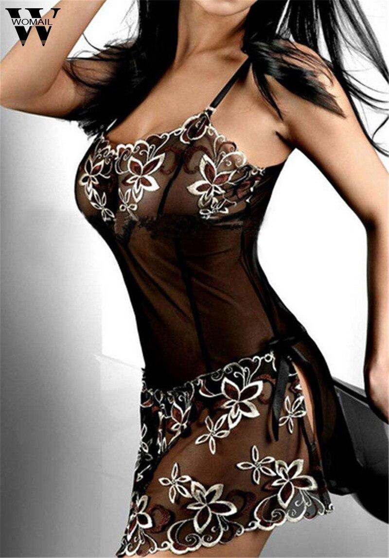 Amazing Women Black Embroidery Sexy Lingerie Dress Lady Print Transparent Nightwear M-4XL