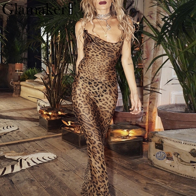 Glamaker Leopard print sexy women long dress Bodycon strap christmas winter dress Elegant backless maxi party vintage dress 2018