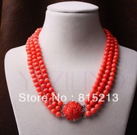 ddh0046 7.5mm orange coral beaded carved rose flower pendant 3 row silver necklace