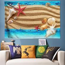Blue Seawater Sand Painting Beach Tapestry Mandala 3D Wall Conch Starfish Hippie Boho Psychedelic Tapestries