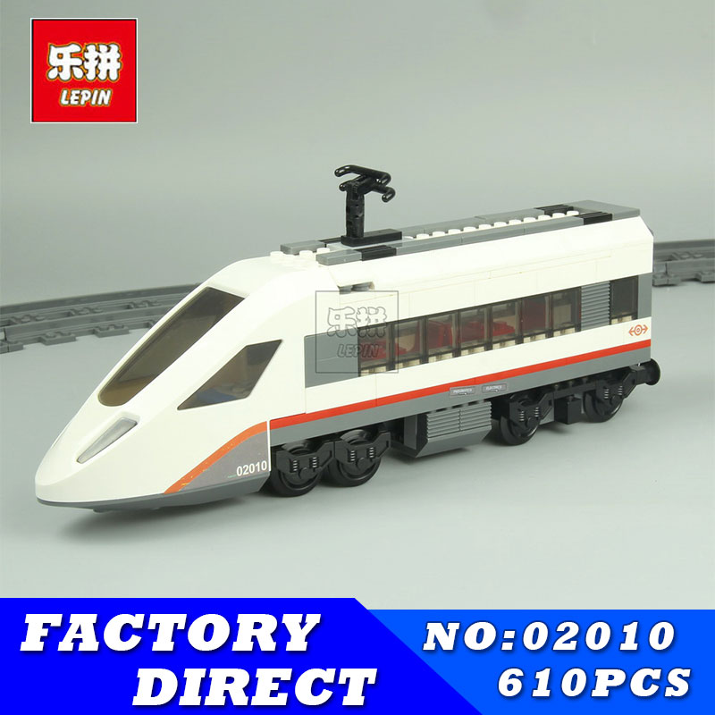 Lepin 02010 City Trains High-speed Passenger Train Model Building Blocks Enlighten DIY Figure Toys For Children Compatible 60051