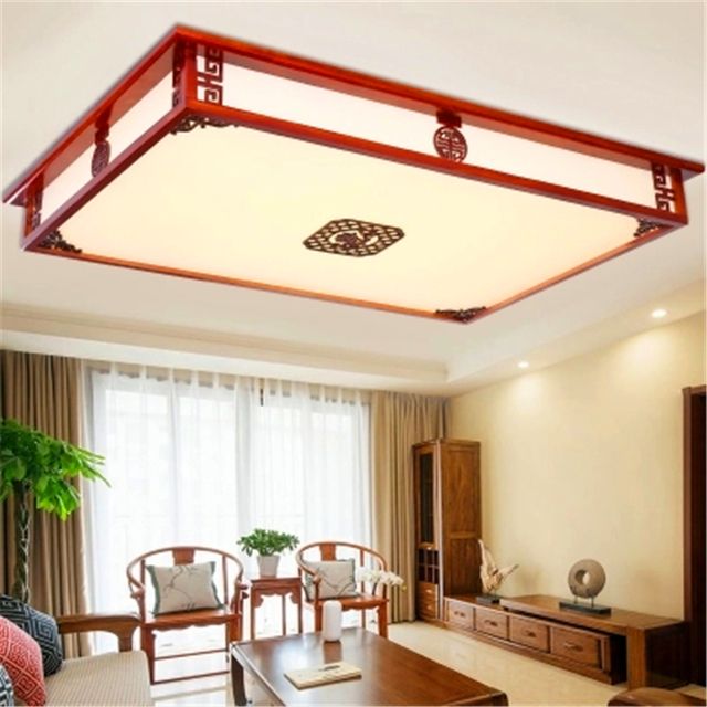 Chinese Classical LED Chandeliver Carving Wood Ceiling Lamp Living Room Bedroom Ceiling Lamp Acrylic Lampshade Kitchen Fixtures