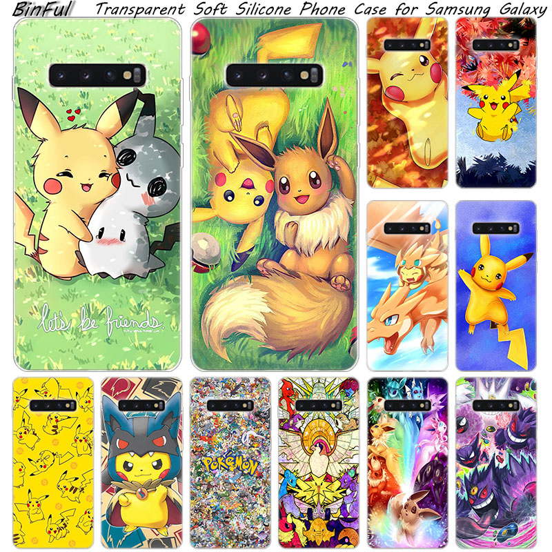Hot Pikachu Pokemon Soft Silicone Case For Samsung Galaxy S10 S9 S8 Plus S7 Edge A6 A8 Plus A7 A9 2018 A5 2017 Fashion Cover image