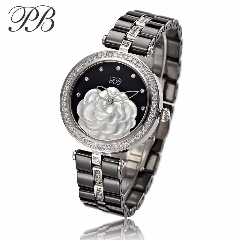 PB princesse papillon de luxe OEM dames montre perle naturelle et camélia cadran en céramique bracelet Quartz femmes montres HL590