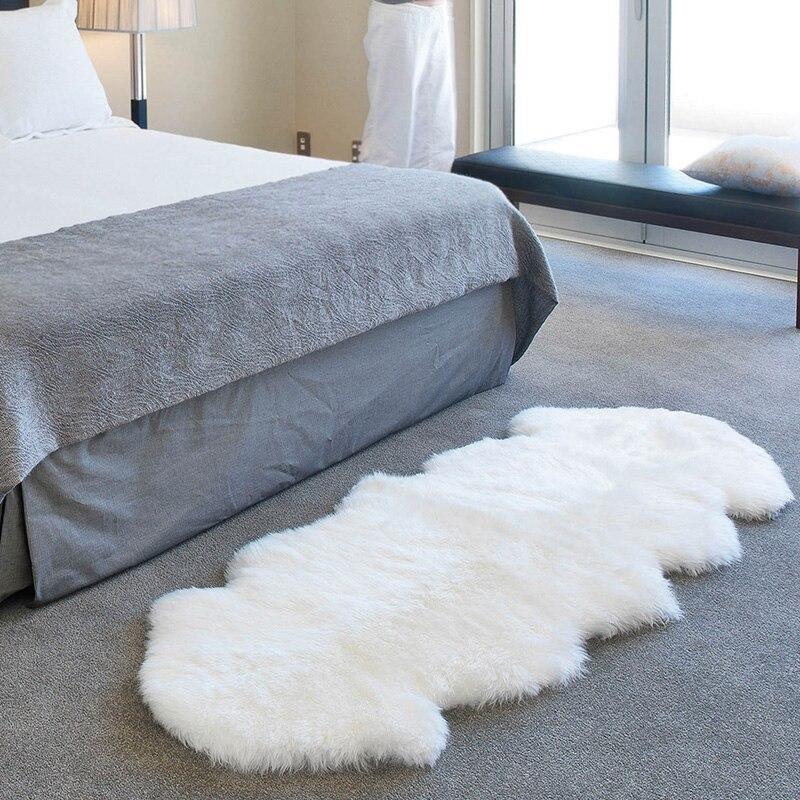 Tapis en laine Pure peau de mouton entière tapis en laine naturelle pour salon fourrure anti-dérapant lit couverture avant luxe véritable canapé en laine