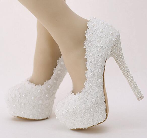 10CM,14CM, super high heels point toes platforms white lace wedding shoes bride, HS181 sweet ladies white lace pearls dress pump women wedding shoes flat heel round toes plus size bride shoes lady female sweet lace pearls proms dress evening party shoes