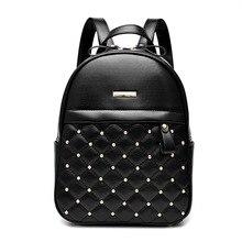 Купить с кэшбэком New Come REAL Sheepskin Women Backpack Fashion Multi Rivets Decoration Women's Travel Bags Casual Patchwork Genuine Leather Bags