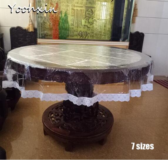 Lace Soft glass Round transparent PVC plastic oilcloth tea Table cloth mat cover waterproof tablecloth Christmas wedding decor