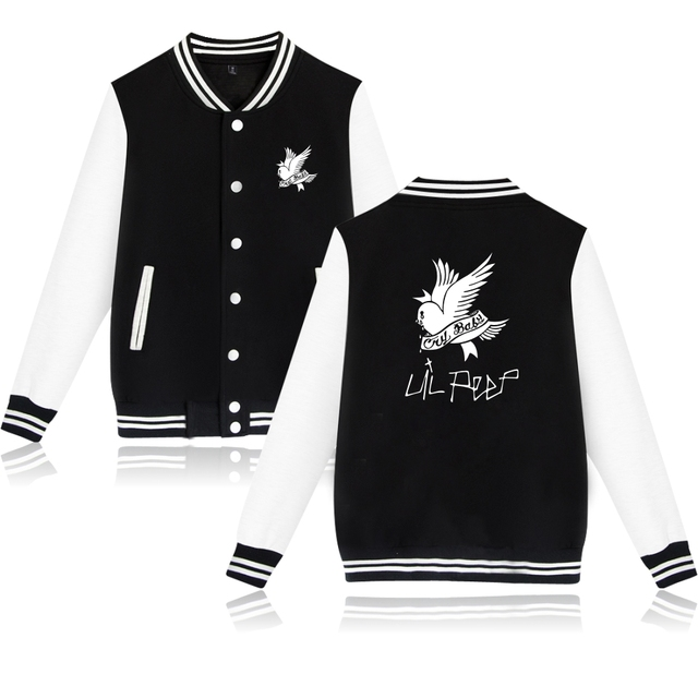 SMZY Lil Peep Baseball Jacket Hoodies Sweatshirt Tops Pullovers Cotton Famous Rap Singer Sweatshirts Men Popular Hip Hop Clothes