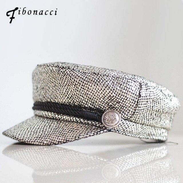 Fibonacci 2018 nueva Hot Stamping mujeres sombreros militares moda juventud  literaria casquillo bronceado sombrero plano superior 85a98a620c1