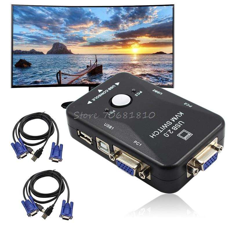 USB2.0 2-Port KVM Switcher Switch Box Mouse/Keyboard/VGA Video Monitor 1920x1440  Drop Shipping