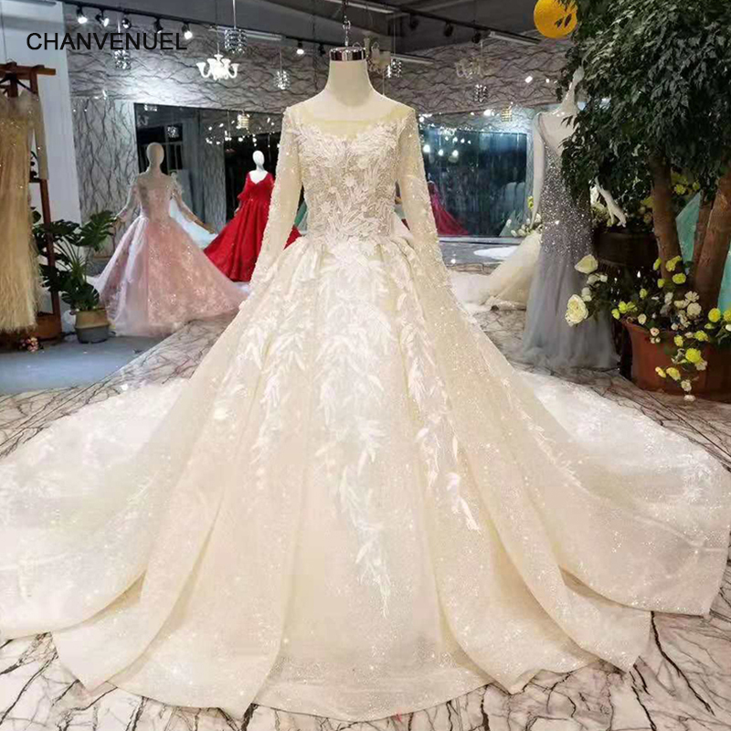 Champagne Wedding Gowns With Sleeves: LS11029 Light Champagne Wedding Dresses Elegant O Neck