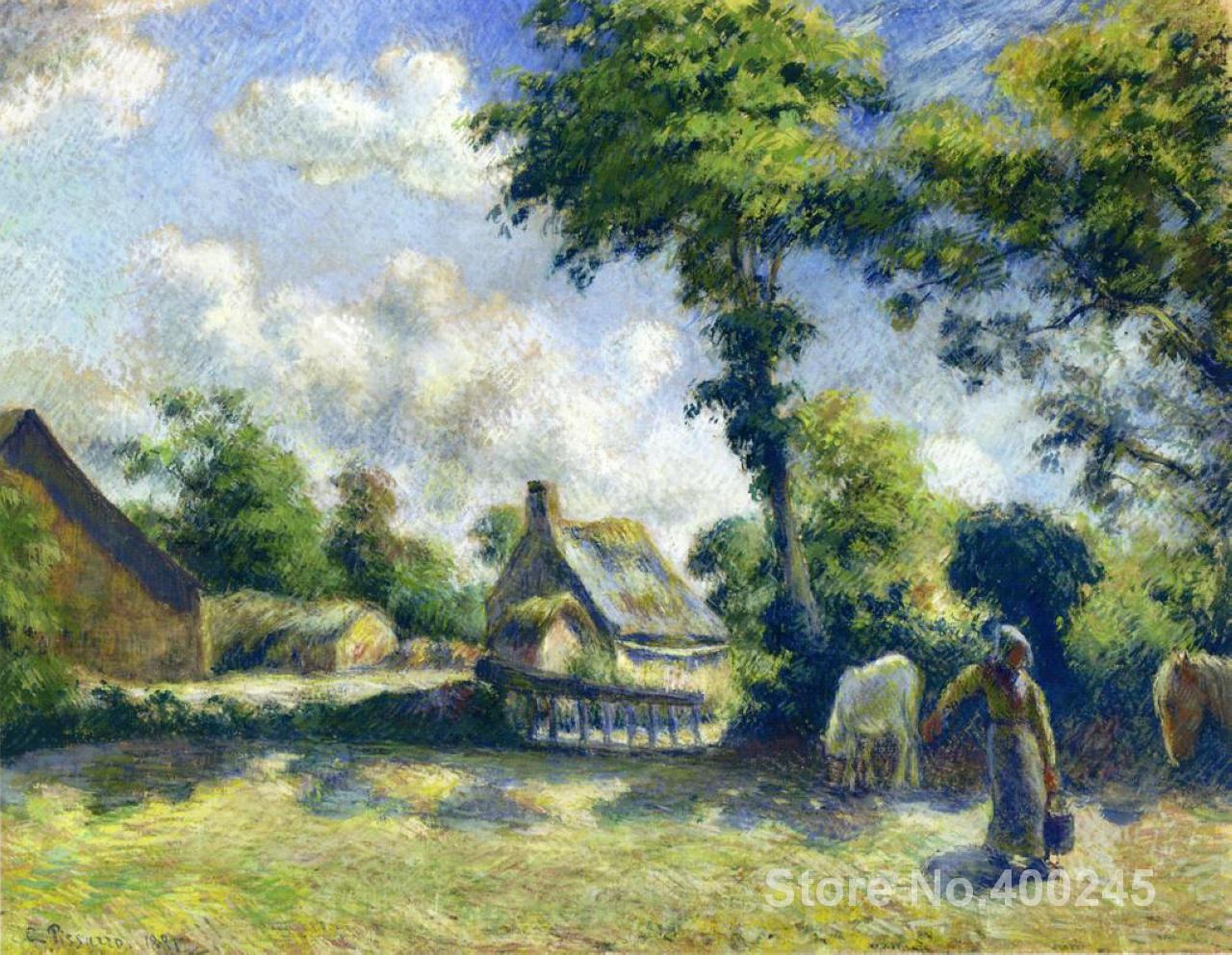 artwork of Camille Pissarro Landscape at Melleray Woman Carrying Water to Horses handmade art painting reproduction High Quality