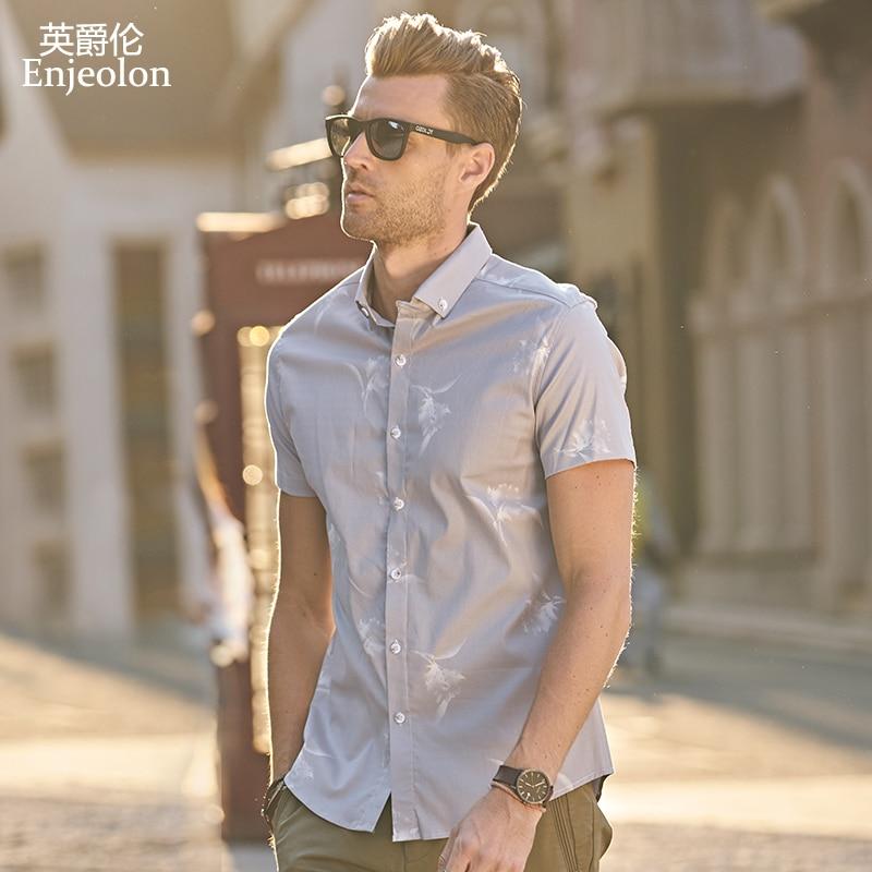 Enjeolon brand 2017 casual font b Men b font font b Shirt b font Blouse short