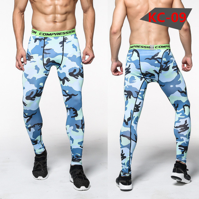 Men Compression Pants Tights Casual  Bodybuilding Mans Trousers Brand Camouflage Army Green Skinny Leggings