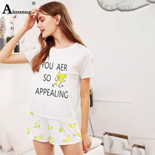 knitting Cartoon Banana Cat Print Home Leisure Tops And Shorts Sweet Girl Co-ords 2019 Summer Casual White Women Two-piece Sets sweet print and cartoon design satchel for women