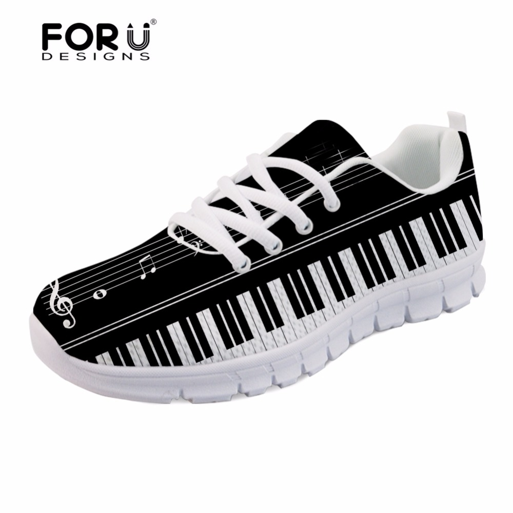 FORUDESIGNS Music Notes with Piano Keyboard Printed Casual Men Sneakers Flats Fashion Men Lace-up Breathable Mesh Shoes Men 2018 casual men s coconut tree printed boardshorts