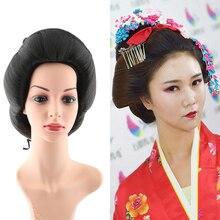 Черные японские волосы кимоно волосы Гейша волосы для женщин Гейша косплей аксессуары в форме древних волос Японские женщины косплей