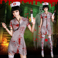 New Halloween carnival women's cosplay costumes, horror bloody nurses Scary Doctor Zombie Costume Cosplay Dress Princess