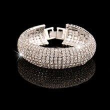Fashion 2018 women bracelet Golden sliver Rhinestone Wedding Party Mesh Wrap Cuff Bangles Bracelet