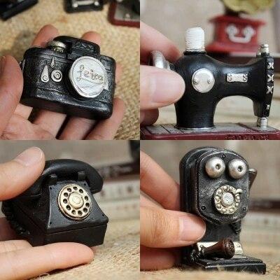 AIBEI-ZAKKA Retro Resin Mini phone Sewing Machine Camera 2PCS/SET Antique Imitation Cabochon Decoration Photo Props Crafts Gifts