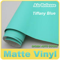 New Arrival Tiffany Blue Matte Car Wrap Vinyl Film With Air Bubble Free FedEx Free Shipping Size:1.52*30M