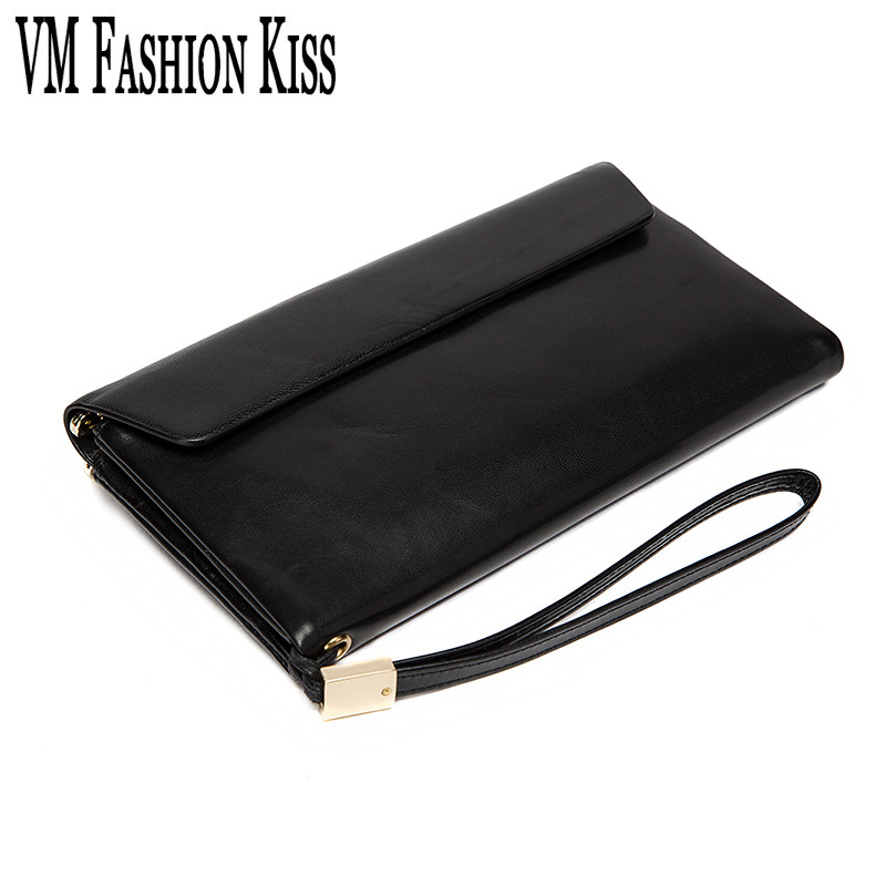 VM FASHION KISS Genuine Leather Women Men Sheepskin Mobile Wallet Two Fold Long Purses Women S
