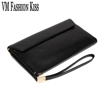 VM FASHION KISS Genuine Leather Women Men Sheepskin Mobile Wallet Two Fold Long Purses Women S