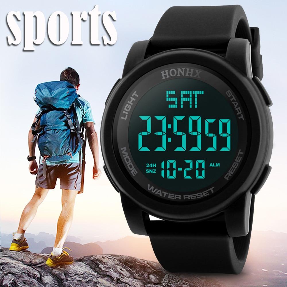 Hot Sale Luxury men Watches Fashion Waterproof Men's Boy LCD Digital Stopwatch Date Rubber Sport Wrist Watch Masculino Reloje цена и фото