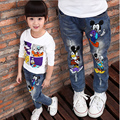high-quality 2016 cartoon character printed casual denim pants Spring / Autumn new jeans for children hot sale
