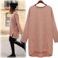 Europe Oversize 4xl Loose Cashmere Sweater Women Pullover Long Knitted Sweaters Beading Pearl Base Coat Autumn Winter Pull Femme