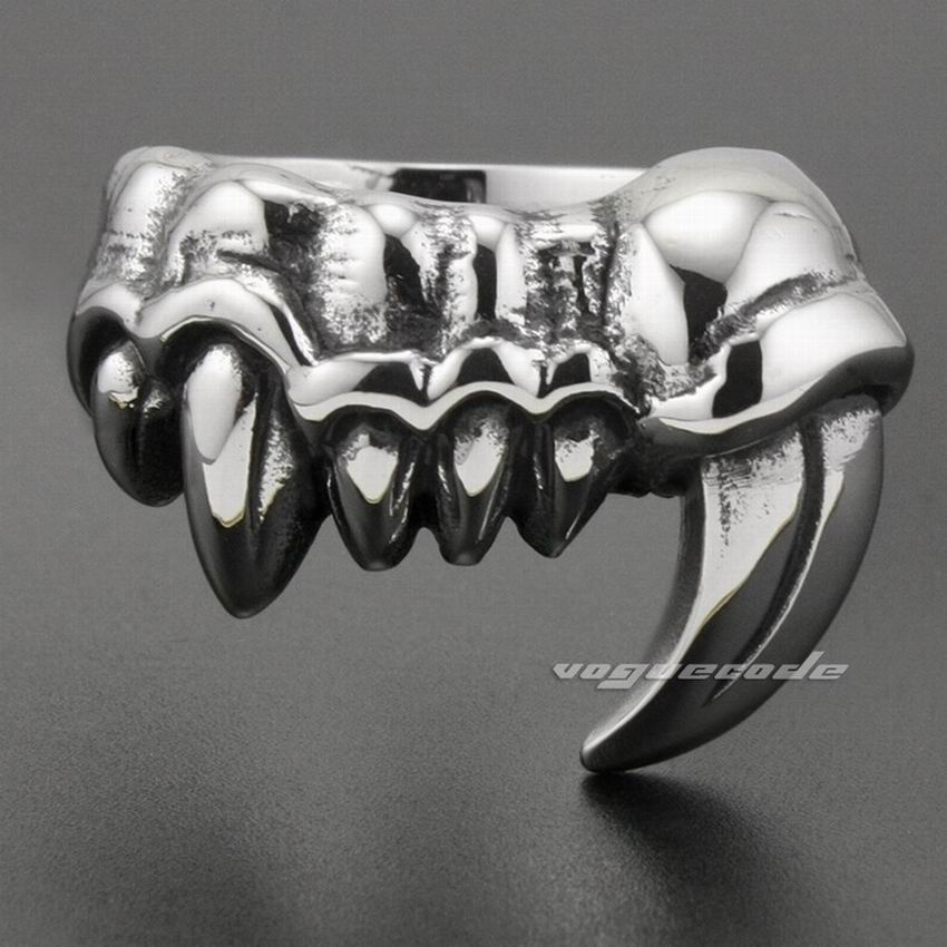 Monster Fang Tooth 316l Stainless Steel Mens Biker Rocker Ring 2x039
