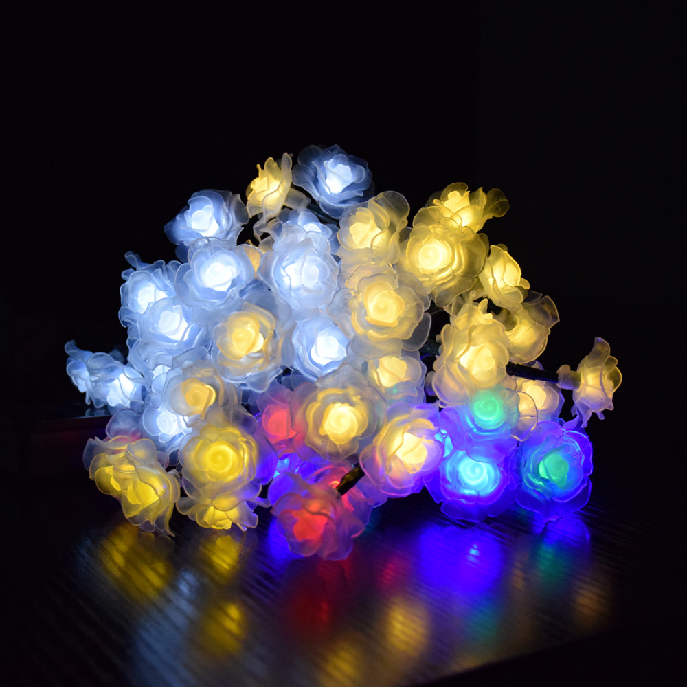 4.5M/6M Rose Solar Lighting String with Solar Panel Garland Fairy Light LED String Lights for Outdoor Christmas Decoration