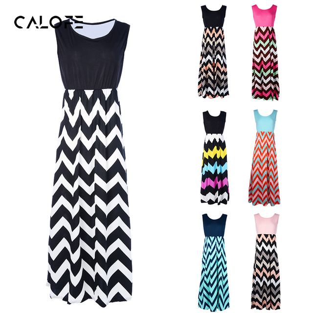 CALOFE Fashion Striped Long Maxi Dress Women Sexy Beach Boho Sundress Casual Summer Dresses Female 2019 Vestidos Plus Size