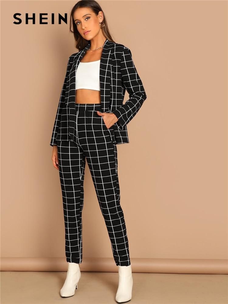 SHEIN Blazer Pants Set Women Stretchy Twopiece Long-Sleeve Print Plaid Autumn Workwear