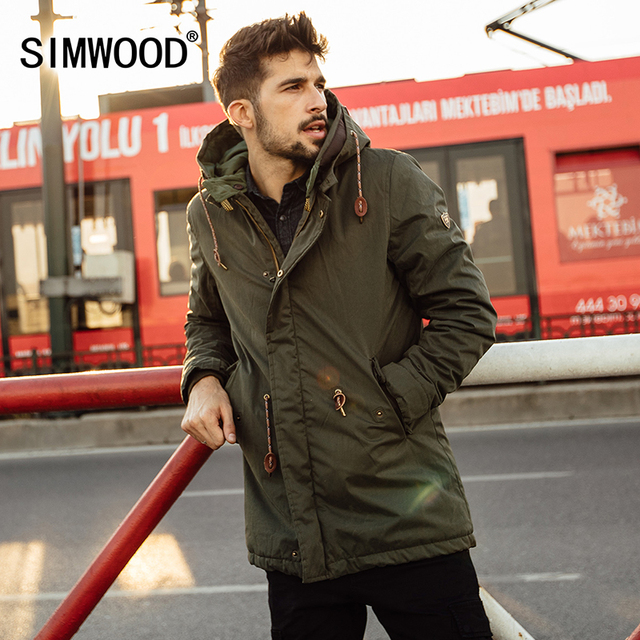 Simwood 2016 novo inverno longo casacos moda outerwear jaqueta grossa parkas de roupas de marca dos homens casuais quente mf9502