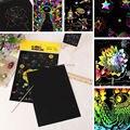 10 PCS Papel de Desenho Do Zero Raspagem Pintura para Crianças Brinquedo Educativo com Desenho Da Vara Suprimentos