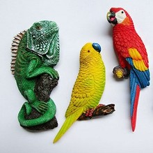 Macaw Spain lizard animal owl creative three-dimensional resin fridge magnet 3pcs/set ornament  figure