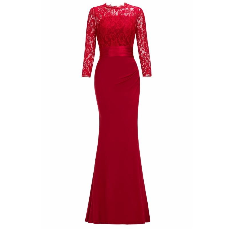 Элегантное длинное вечернее платье русалки с круглым вырезом и рукавом три четверти, вечернее платье, robe de soiree - Цвет: Red