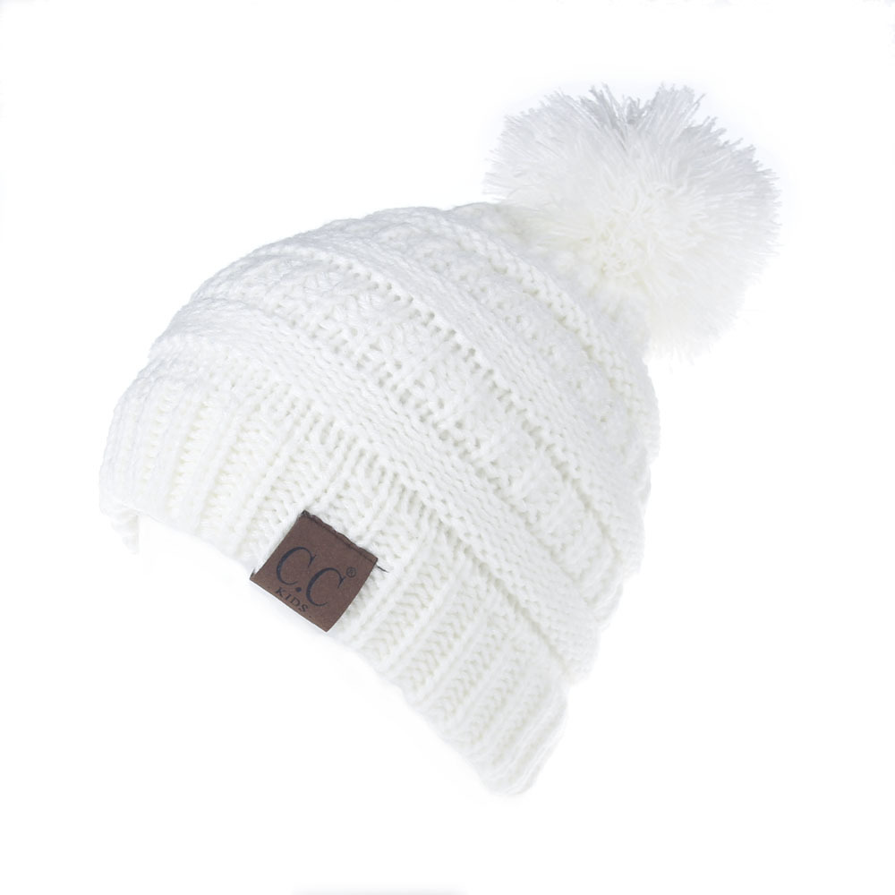 2018 Winter Kids Warm Pom Pom Hats Baby Boys Girls Fur Pompom Caps Cotton Knitted Children Beanies Skullies Bonnet Enfant