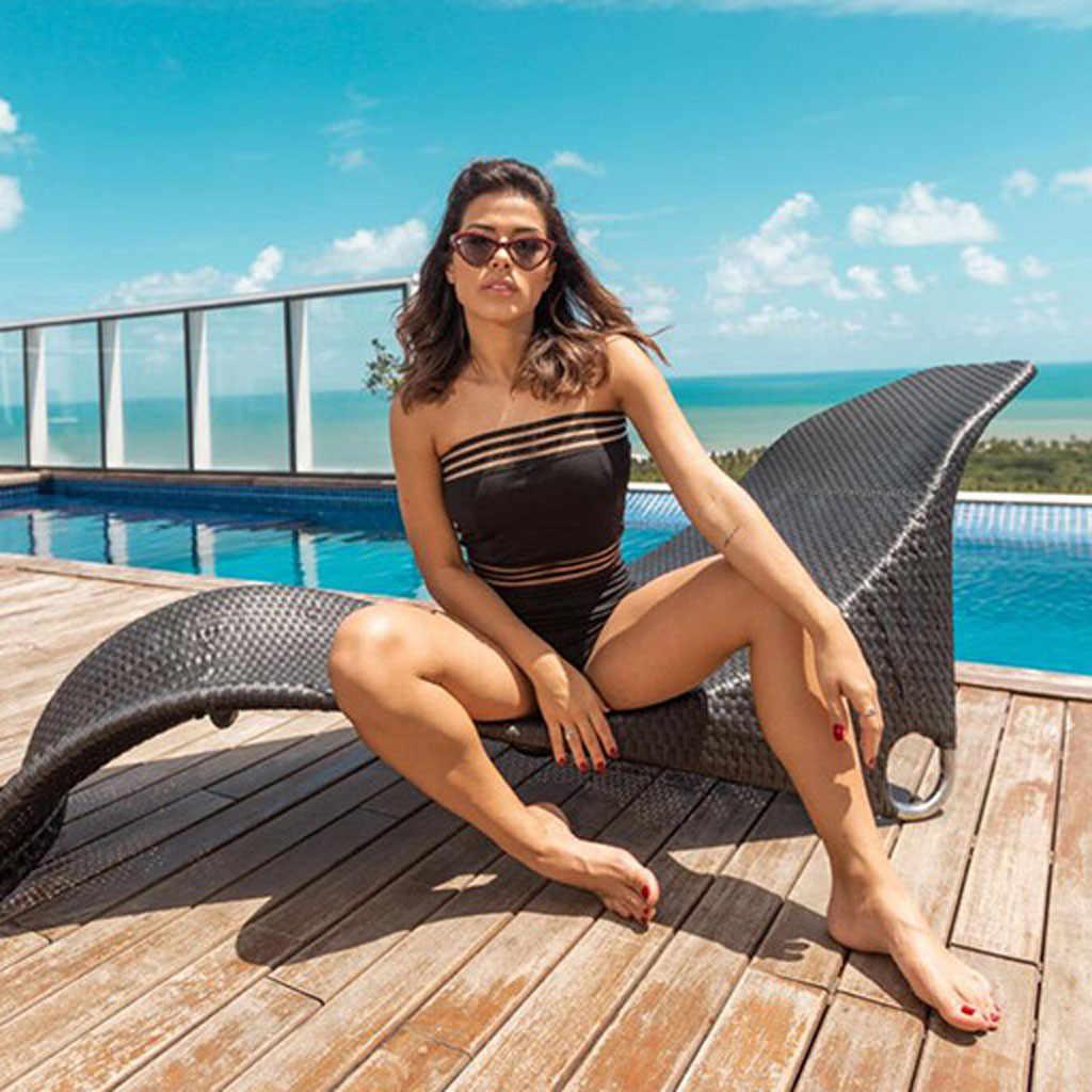 ملابس السباحة المرأة مثير شبكة سوداء قطعة واحدة ملابس السباحة المرأة الصيف 2019 مثير الرياضة الاستحمام لباس سباحة للنساء Stroj Kapielowy