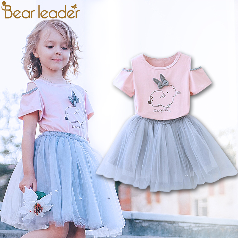 Bear Leader Girls Clothing Sets New Summer Fashion Style Cartoon Rabbit Printed T-Shirts+Pink Dress 2Pcs Girls Clothes Sets menoea girls dress new 2018 clothes 100% summer fashion style cartoon cute little white cartoon dress kitten printed dress