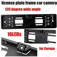 Nice CCD 120 Degree Wide Angle 16 LED Lights Europe License Plate Frame Car Reversing Rear