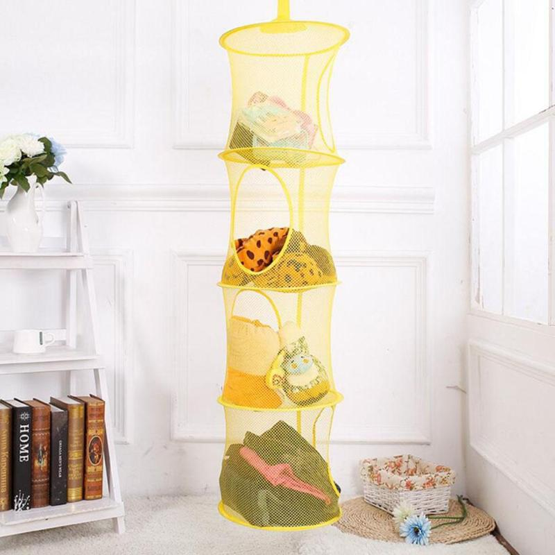 110cm X 30cm 4 Shelf Hanging Storage Organizer Net Kids Toy Container Bag  Bedroom Wall Door