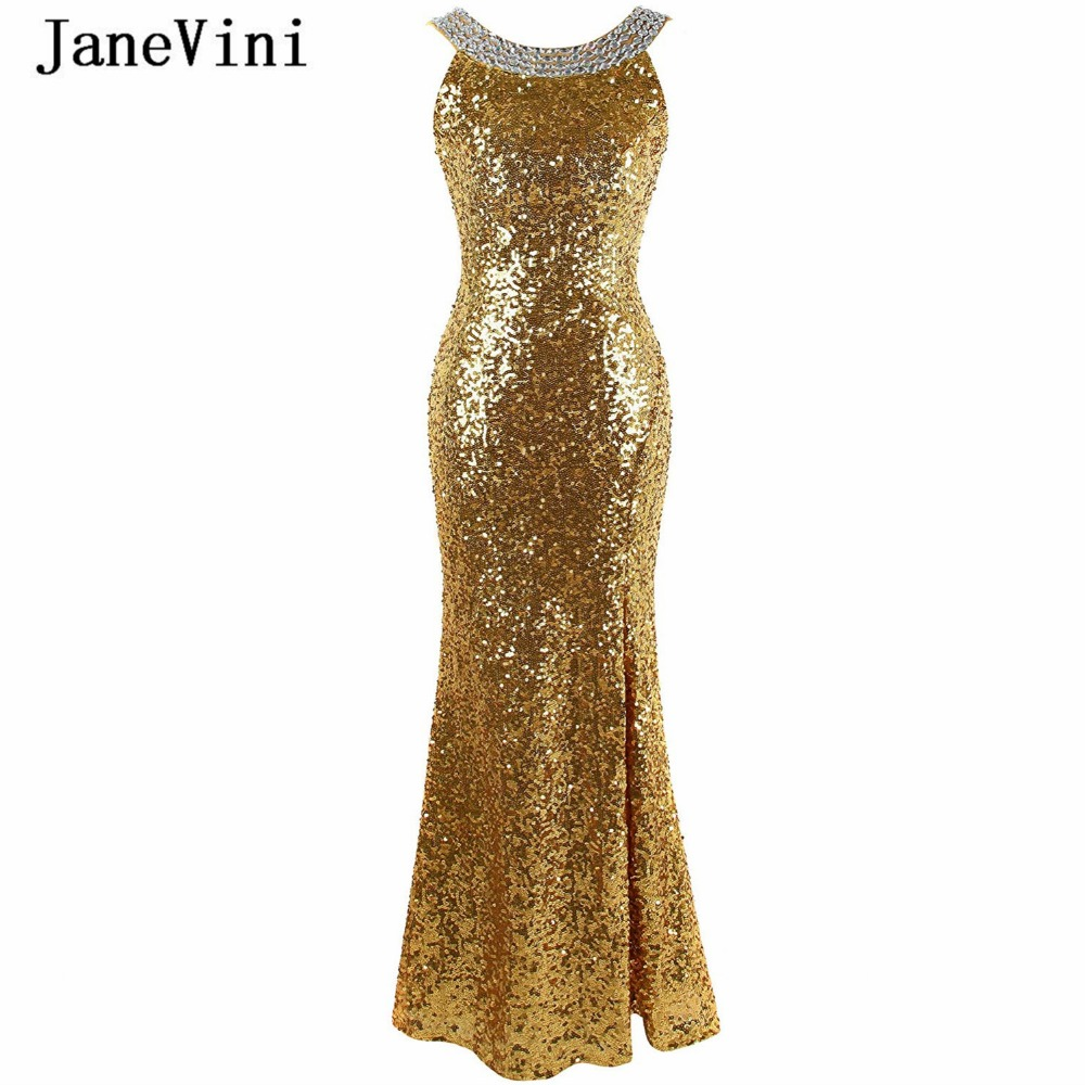 JaneVini 2018 Sexy Mermaid Gold Sequins Crystal Long Bridesmaid Dresses For Wedding Party Backless Floor Length Prom Party Gowns