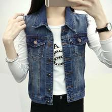 2017 New Fashion Women's Sleeveless Blazer Vest Streetwear Style Colete Jeans Feminino Slim Chalecos Mujer Plus Size Denim Vest